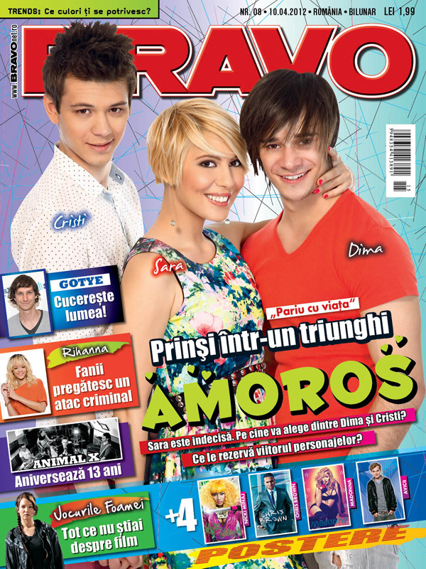 Bravo ~~ Coperta: Cristi, Sara si Dima din PARIU CU VIATA ~~ 10 Aprilie 2012 (nr. 8)