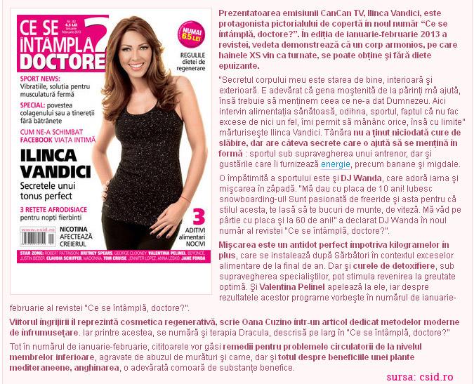 Promo pentru revista CE SE INTAMPLA, DOCTORE?, editia  Ianuarie-Februarie 2013