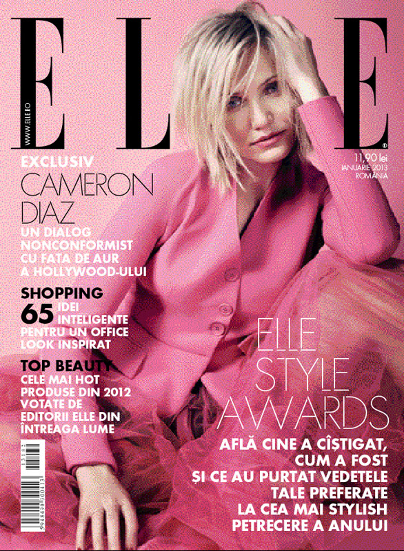 ELLE Romania ~~ Cover girl: Cameron Diaz ~~ Ianuarie 2013
