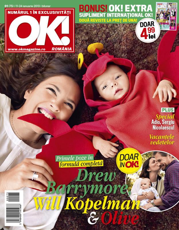 OK! Magazine Romania ~~ Cover girl: Drew Barrymore ~~ 11 Ianuarie 2013
