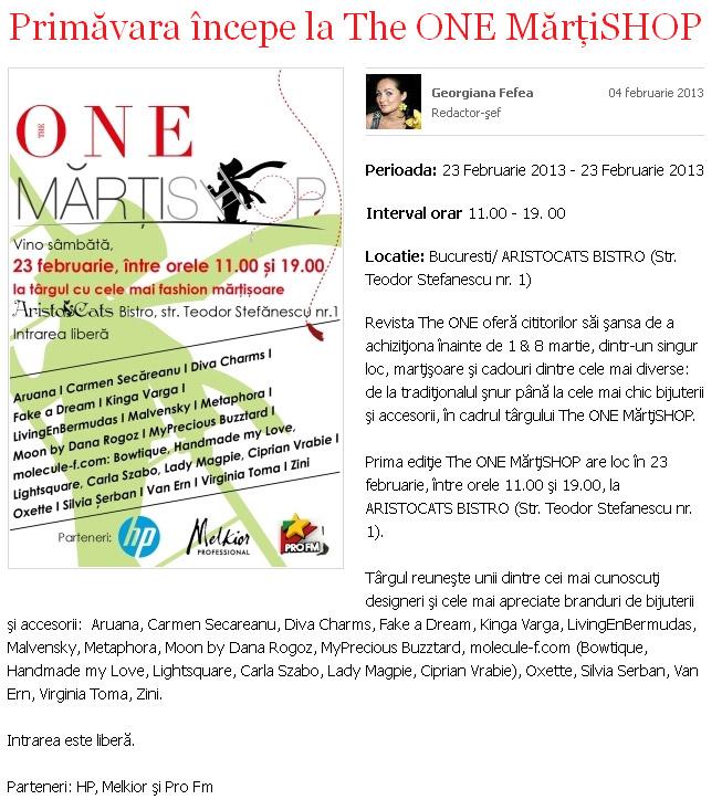 Eveniment The One Magazine ~~ The One MartiSHOP ~~ Bucuresti, 23 Februarie 2013