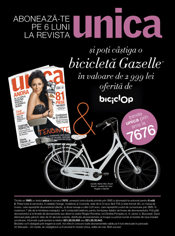 Campanie de abonamente la revista Unica ~~ 20 Februarie - 20 Martie 2013