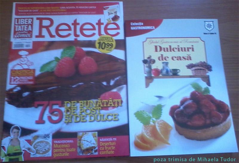 Cartea cu retete de dulciuri, cadoul revistei LIBERTATEA PENTRU FEMEI RETETE, editia Martie 2013