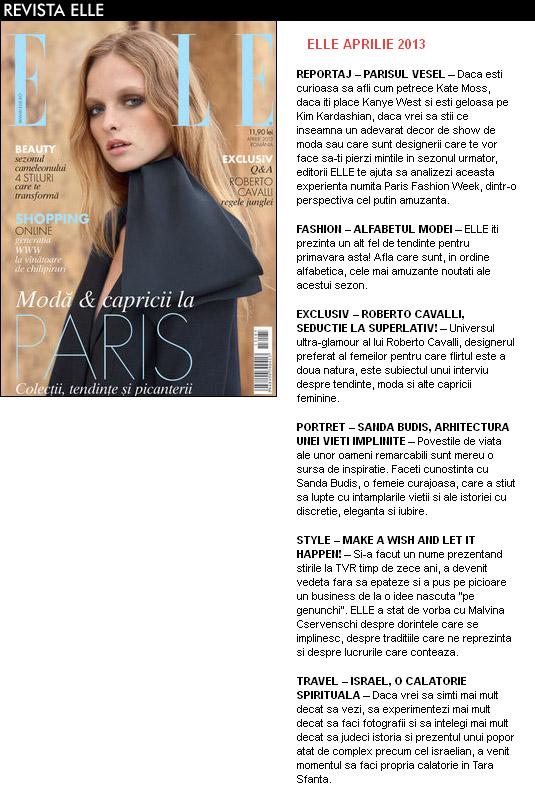 Promo pentru revista ELLE Romania, editia Aprilie 2013