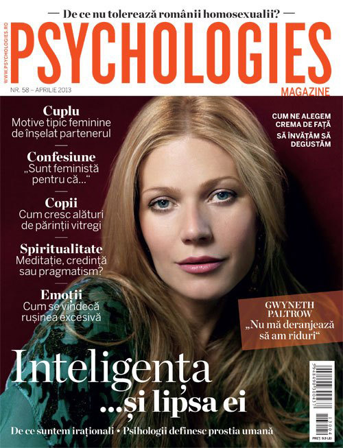 Psychologies Magazine ~~ Cover girl: Gwyneth Paltrow ~~ Aprilie 2013