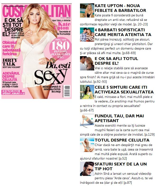 Promo pentru revista Cosmopolitan Romania, editia Mai 2013