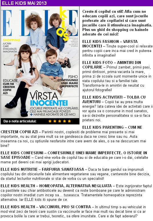 Promo ELLE KIDS ROMANIA, editia Mai 2013