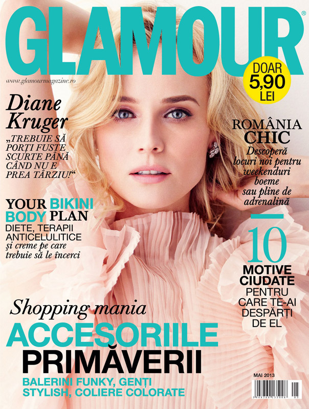 Glamour Romania ~~ Cover girl: Diane Kruger ~~ Mai 2013