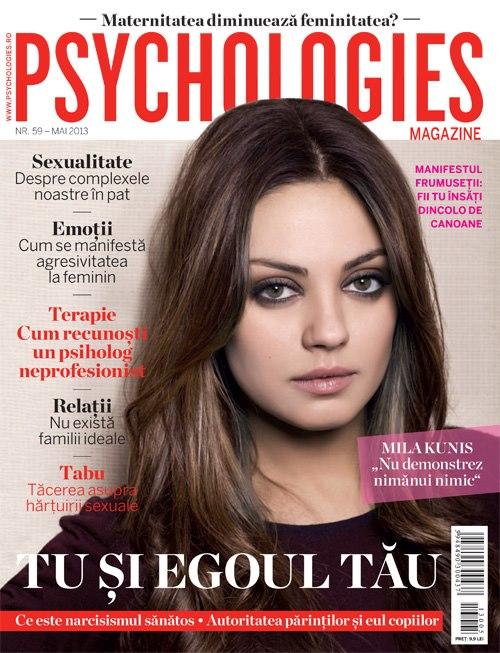 Psychologies Magazine Romania ~~ Cover girl: Mila Kunis ~~ Mai 2013