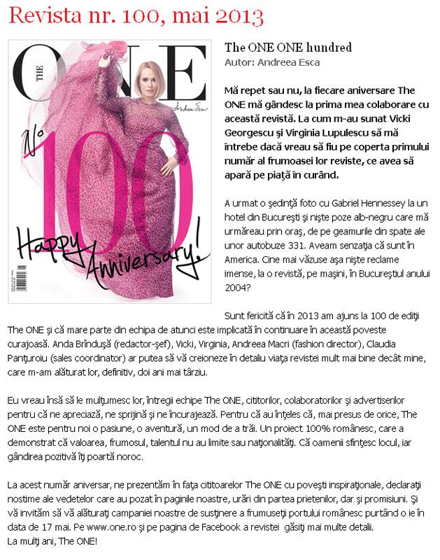Promo pentru revista THE ONE, editia Mai 2013