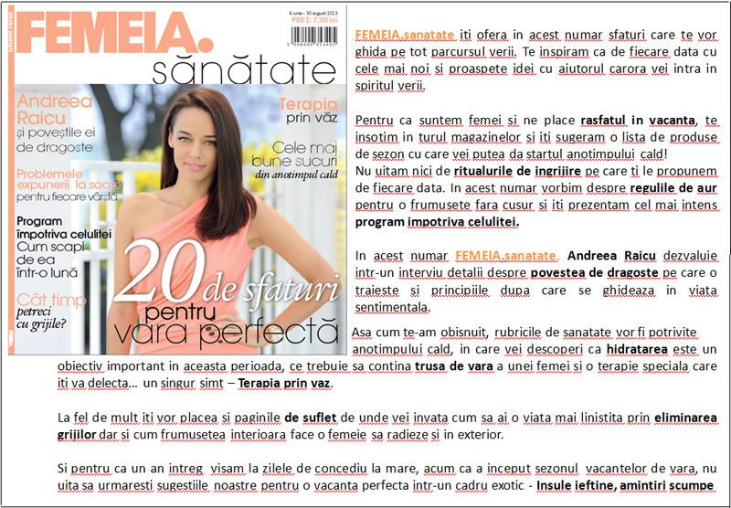 Promo pentru specialul FEMEIA. SANATATE, 6 Iunie - 30 August 2013