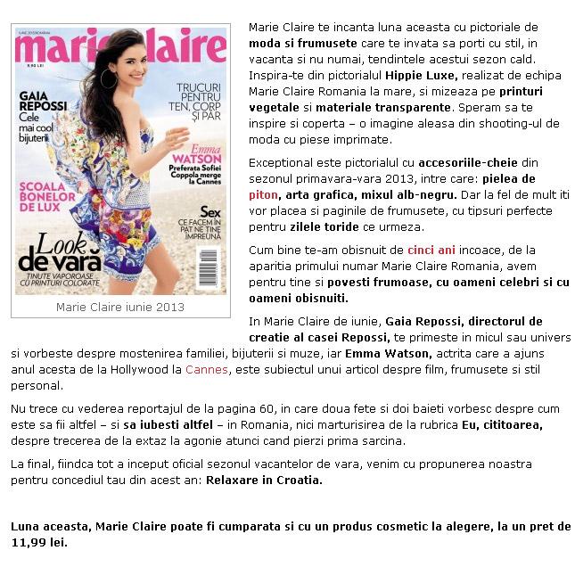 Promo pentru revista Marie Claire Romania, editia Iunie 2013