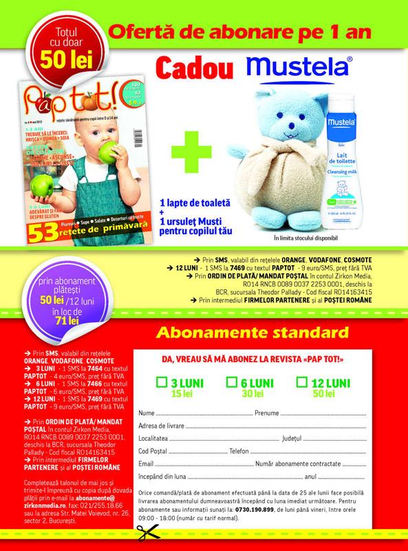 Oferta de abonament pentru 1 an la revista PAP TOT! ~~ Cadou de la Mustela ~~ Pret: 50 lei