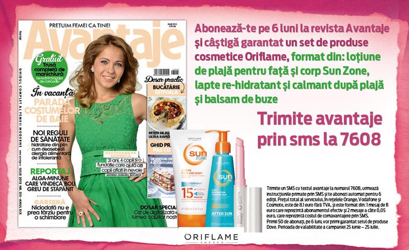 Oferta de abonament prin sms pe 6 luni la revista AVANTAJE ~~ Cadou: produse Oriflame ~~ Pret: 8,10 euro ~~ Valabilitate: 25 Iunie - 25 Iulie 2013