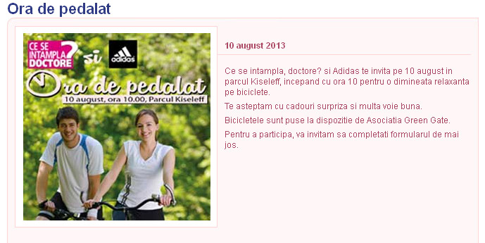 Eveniment CSID si Adidas ~~ O ora de pedalat! ~~ Bucuresti, 10 August 2013