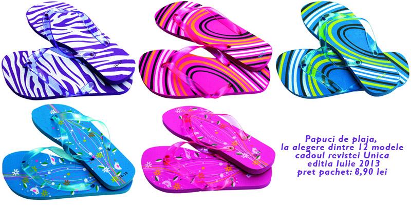 Papuci de plaja, diverse modele ~~ cadoul revistei Unica, editia Iulie 2013 ~~ Pret: 9 lei