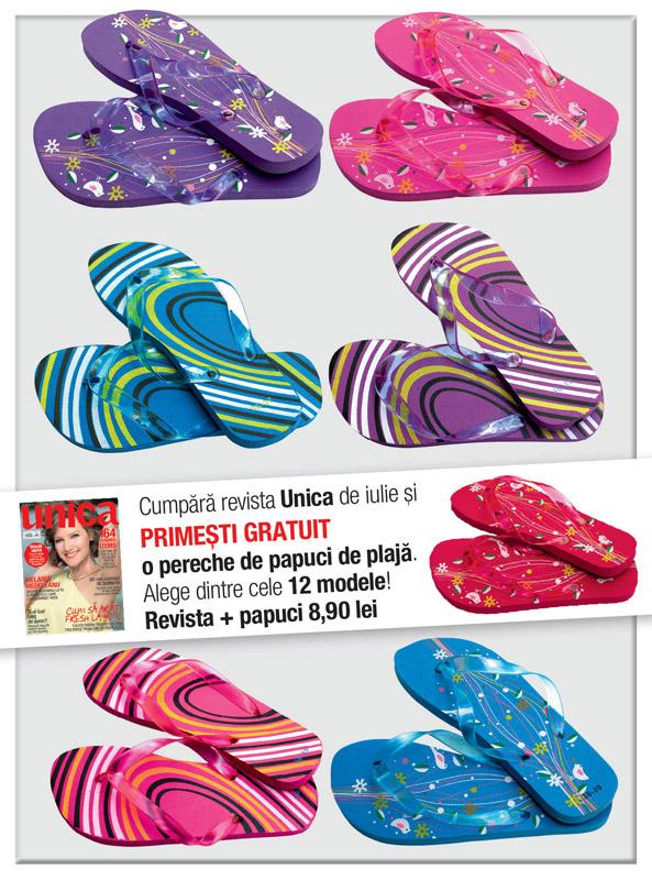 Promo pentru revista Unica, editia de Iulie 2013 ~~ Pret revista+papuci de plaja: 9 lei