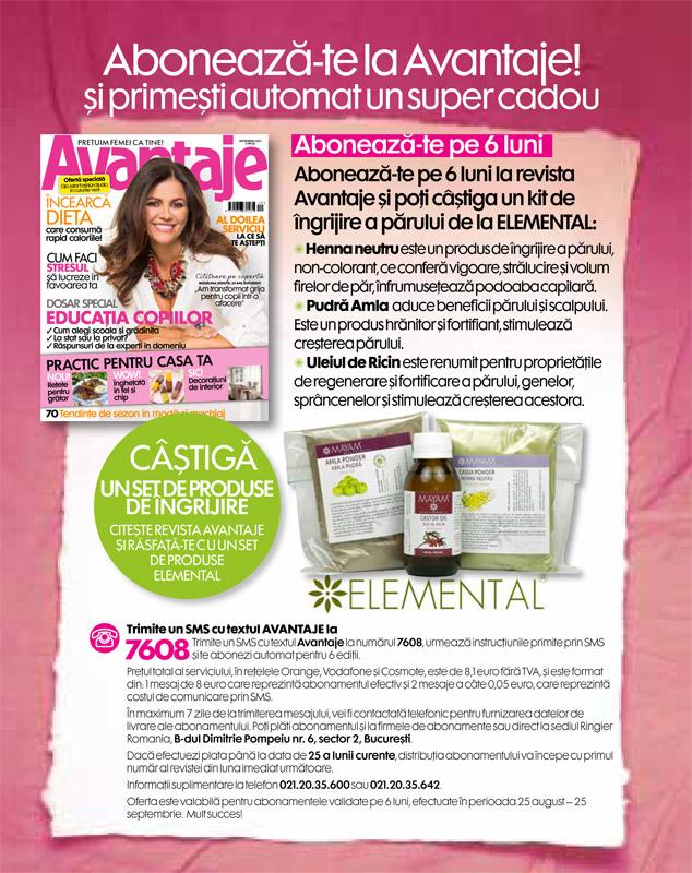 Oferta de abonament prin SMS la revista Avantaje ~~ Cadou: 3 produse Mayam de la Elemental ~~ Septembrie 2013