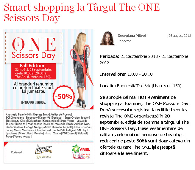 Eveniment THE ONE: Scissors Day ~~ Bucuresti, 28 Septembrie 2013