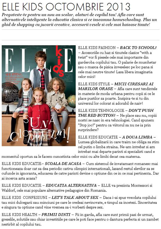 Promo pentru suplimentul ELLE Kids, editia Octombrie 2013