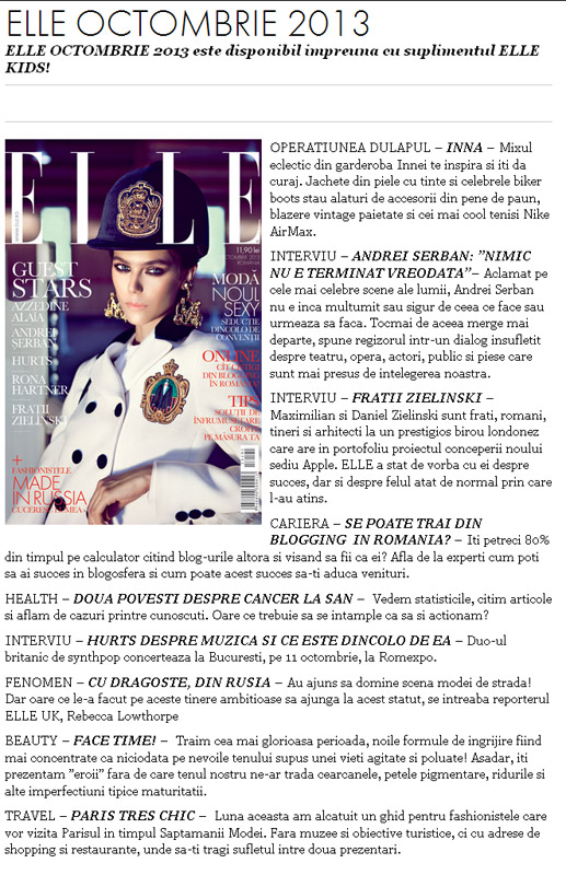Promo pentru revista ELLE Romania, editia Octombrie 2013