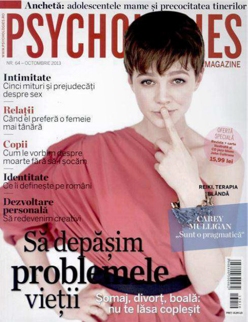 Psychologies Romania ~~ Cover girl: Carey Mulligan ~~ Octombrie 2013