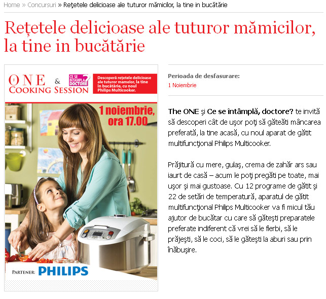 Eveniment The One si CSID ~~ Cooking Day cu Philips Multicooker ~~ Bucuresti, 1 Noiembrie 2013
