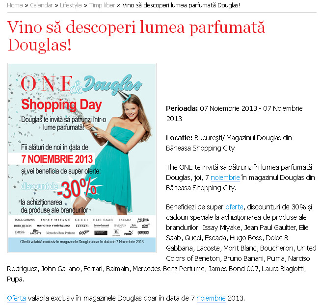Eveniment THE ONE ~~  DOUGLAS SHOPPING DAY ~~ Bucuresti, 7 Noiembrie 2013