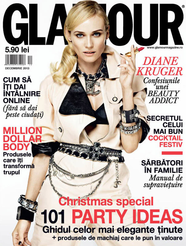 Glamour Romania ~~ cover girl: Diane Kruger ~~ Decembrie 2013