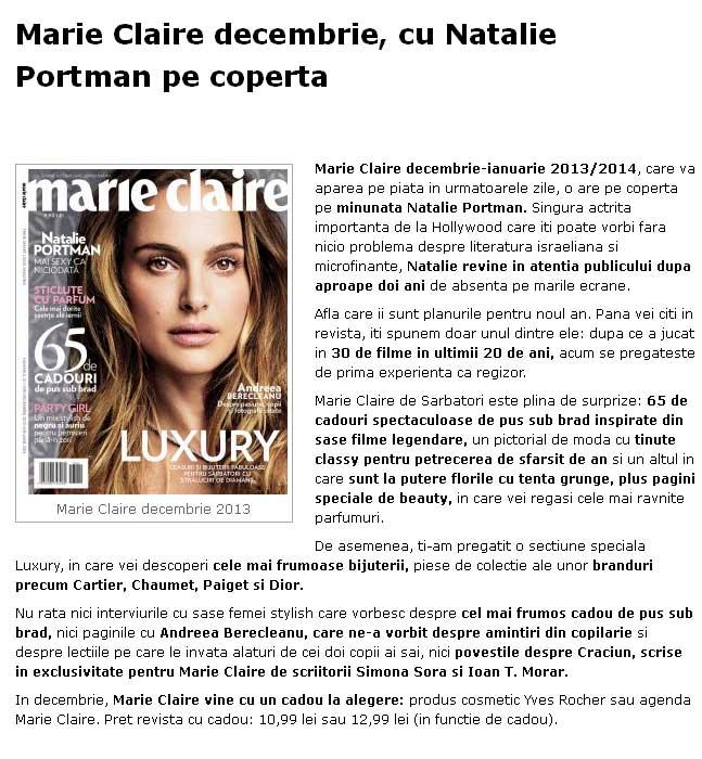 Promo pentru editia dubla Decembrie 2013 - Ianuarie 2014 a revistei Marie Claire Romania
