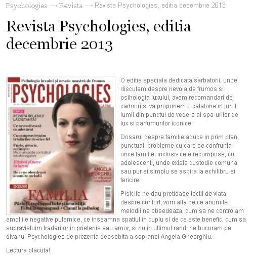 Promo pentru editia de Decembrie 2013 a revistei Psychologies Romania