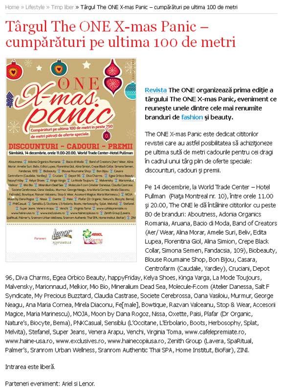 Eveniment The One ~~ Targul The ONE X-mas Panic ~~ World Trade Center Bucuresti, 14 Decembrie 2013