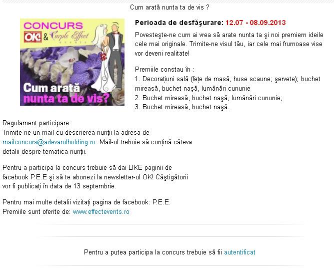 Concurs OK! Magazine si Purple Effect ~~ Cum arata nunta ta de vis? ~~ 12 Iulie - 8 Septembrie 2013