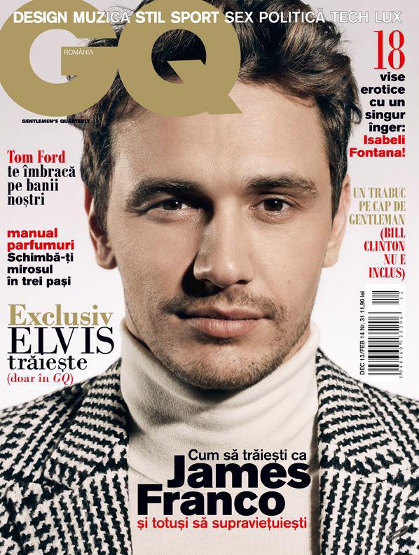 GQ Romania ~~ Cover man: James Franco ~~ Decembrie 213 - Februarie 2014