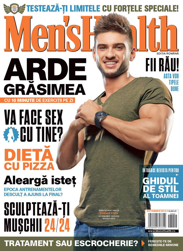 Men\'s Health Romania ~~ Coperta: Dorian Popa ~~ Octombrie 2013