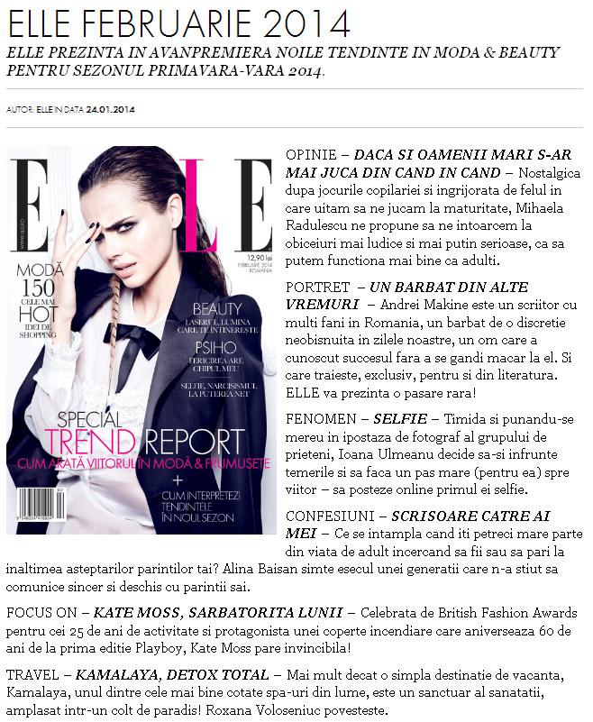 Promo pentru revista ELLE Romania, editia Februarie 2014