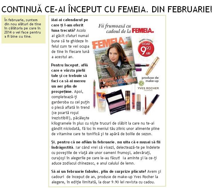 Promo pentru revista FEMEIA., editia Februarie 2014