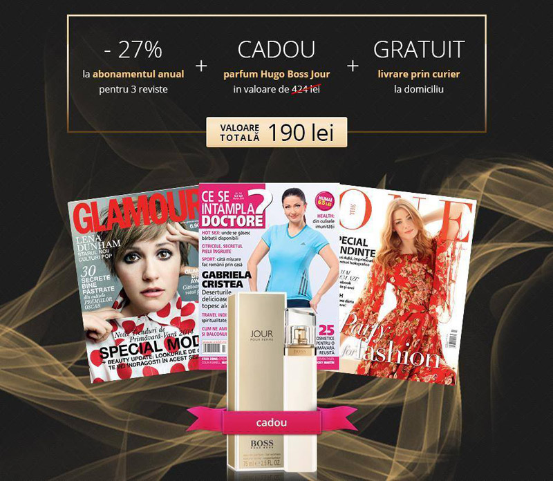 Oferta de abonament pe 1 an la revistele Glamour, CSID si The One ~~ Cadou: parfum Hugo Boss Jour (75 ml) ~~ Pret: 190 lei