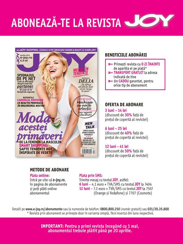 Oferta de abonament pentru 3,6 sau 12 luni la revista JOY