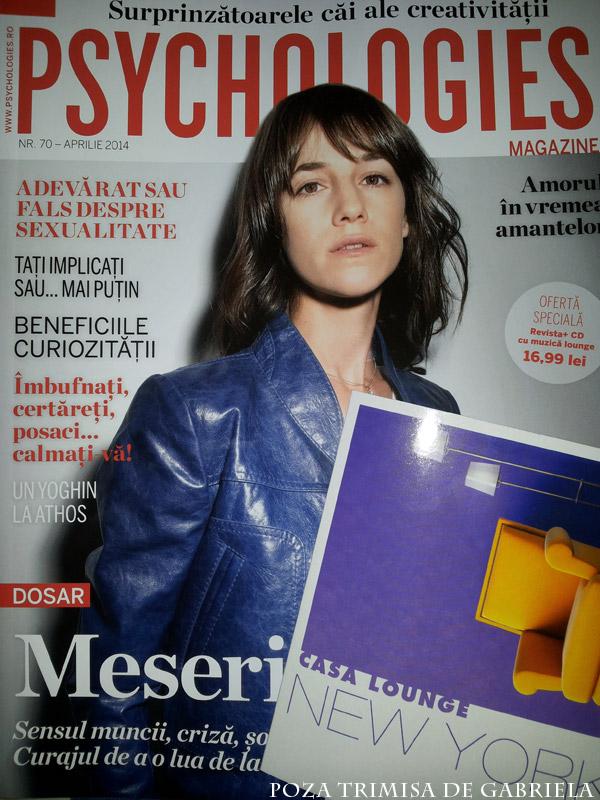 Psychologies Romania si cadoul CD cu muzica lounge ~~ Pret pachet: 17 lei ~~ Aprilie 2014