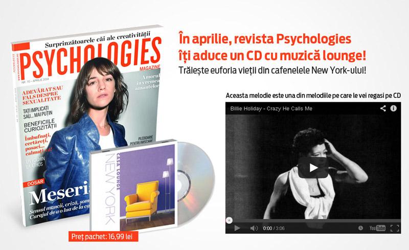 Promo pentru editia de Aprilie 2014 a revistei Psychologies Romania