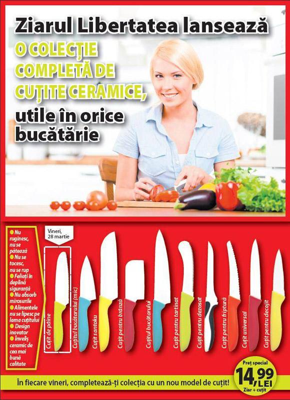 Colectie de cutite ceramice pentru diferite alimente si operatiuni ~~ impreuna cu ziarul Libertatea ~~ Pret pachet: 15 lei