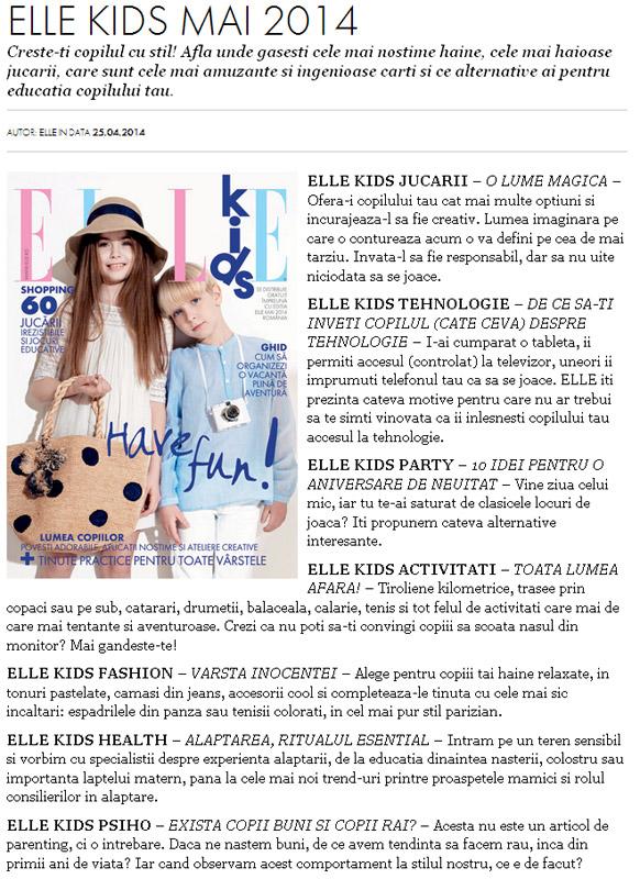 Suplimentul ELLE KIDS ~~ Mai 2014 ~~ Pret pachet revista ELLE Romania si suplimentul: 13 lei