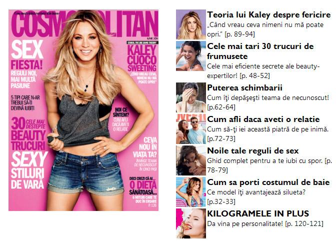 Promo pentru numarul de Iunie al revistei Cosmopolitan Romania
