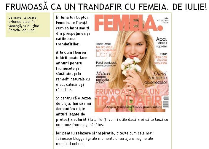 Promo pentru revista FEMEIA., editia Iulie 2014 ~~ Pret: 8 lei