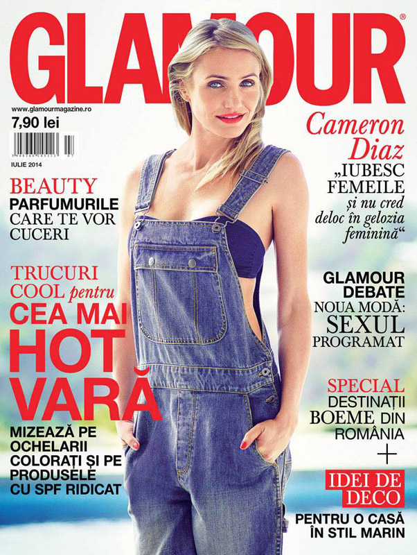 Glamour Romania ~~ Coperta: Cameron Diaz ~~ Iulie 2014