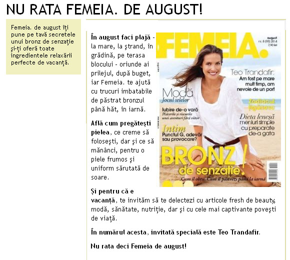 Promo-ul revistei FEMEIA., editia de August 2014