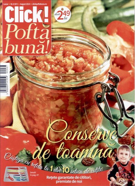 Click Pofta Buna ~~ Conserve de toamna ~~ Nr. 8 din August 2014 ~~ Pret: 2,50 lei
