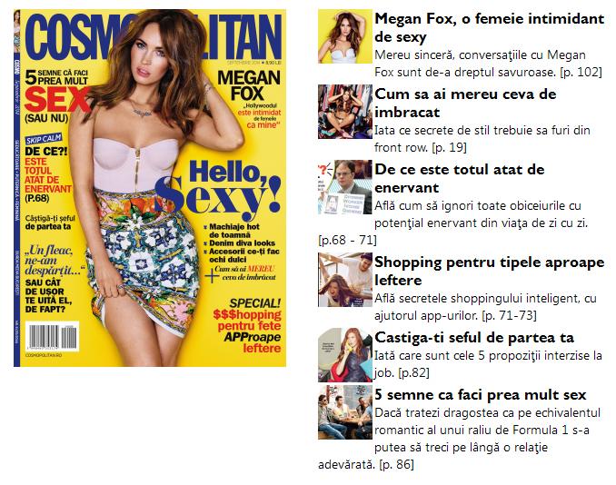 Promo-ul revistei Cosmopolitan Romania, editia Septembrie 2014