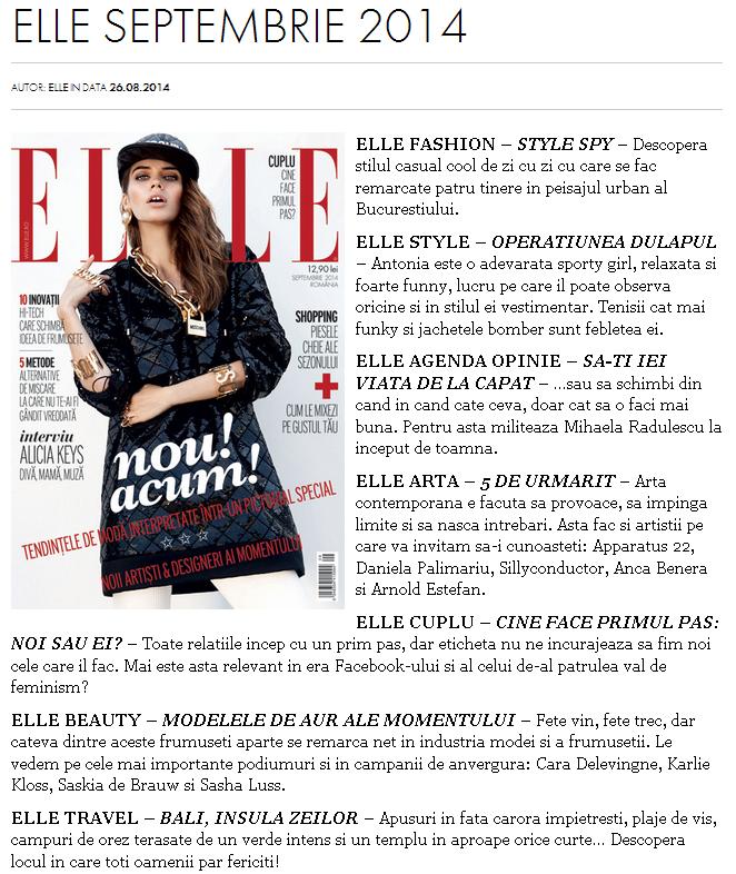 Promo-ul revistei ELLE Romania, editia Septembrie 2014